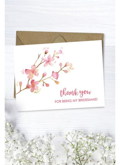 Floral Bridesmaid Thank You Card - Wedding Gifts & Decorations