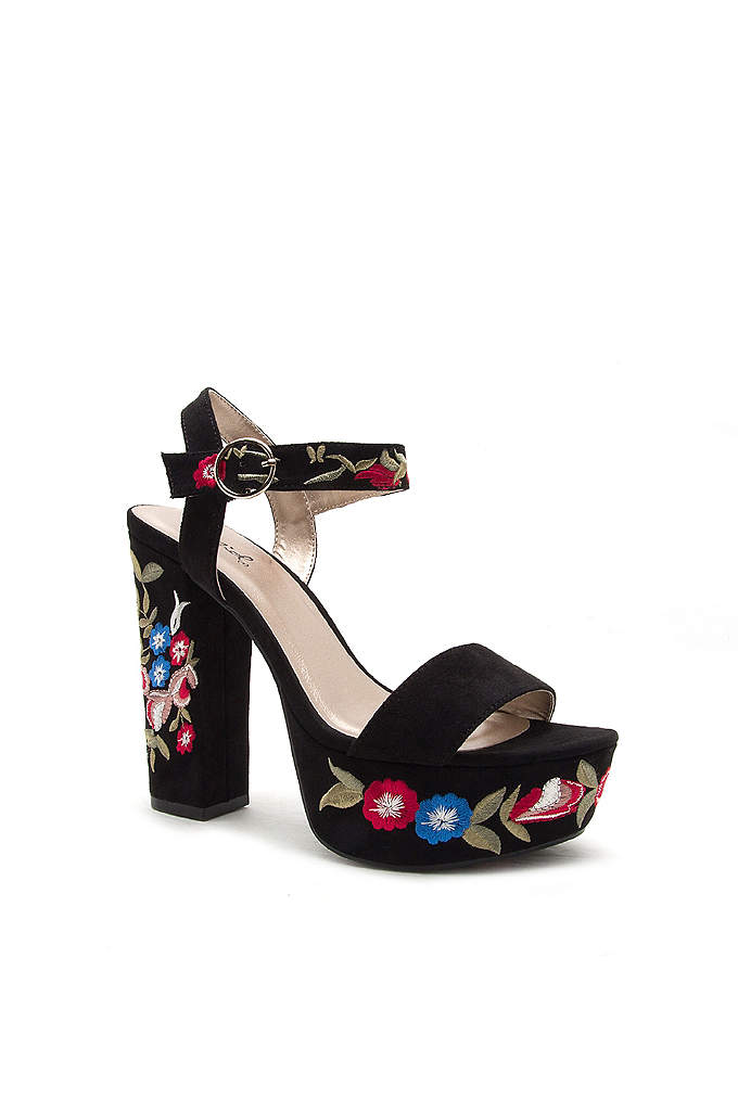 Floral-Embroidered Faux-Suede Platform Heels - Indulge your boho whims with this retro platform
