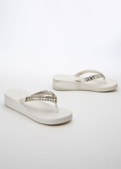 Square Gem Wedge Flipflops CRYSTAL