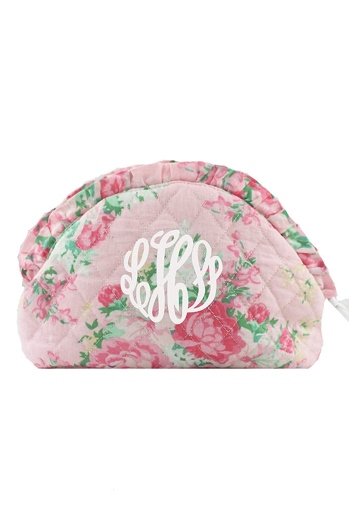 Personalized Floral Cosmetic Case - These adorable floral and ruffle cosmetic cases are