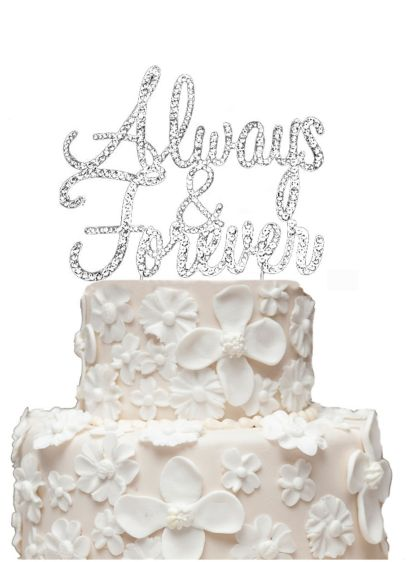 Rhinestone Always and Forever Cake Topper - Wedding Gifts & Decorations