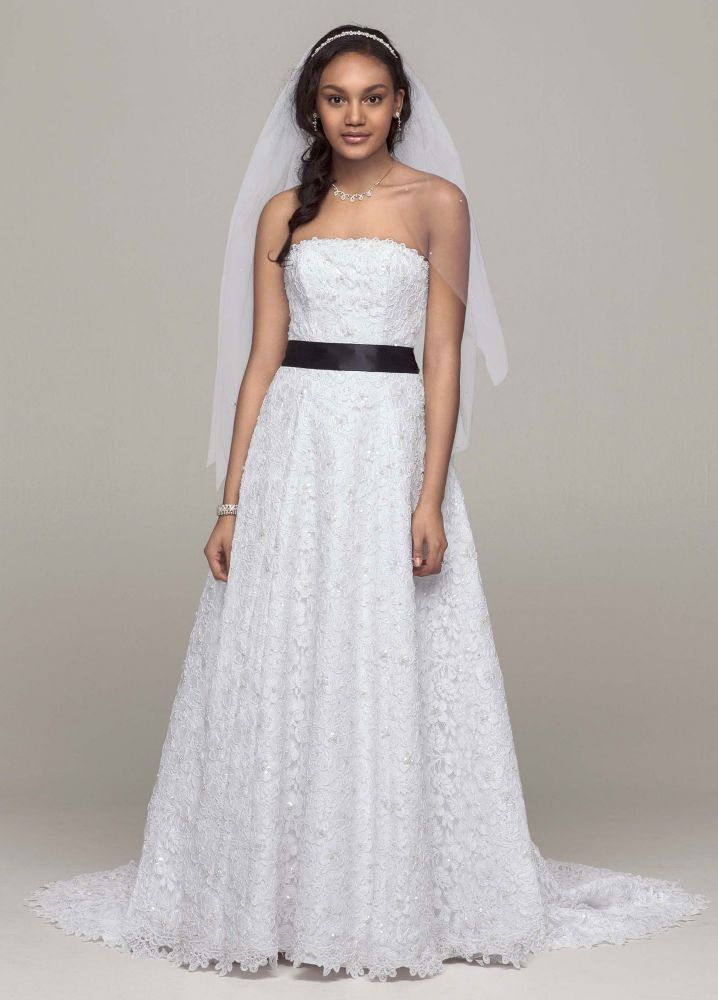 David 39 s bridal all over beaded corded lace a line wedding for All over beaded wedding dress