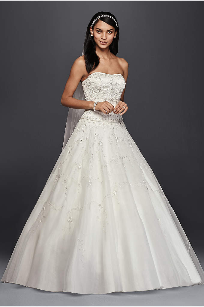 Oleg Cassini Satin Bodice Organza Wedding Dress - This beautiful wedding dress is a special value,