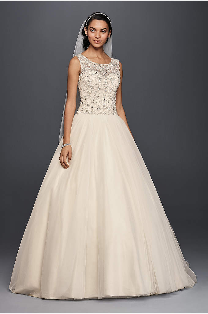 Oleg Cassini Ball Gown Wedding Dress with Beading - There's something unmistakably royal about the silhouette you'll