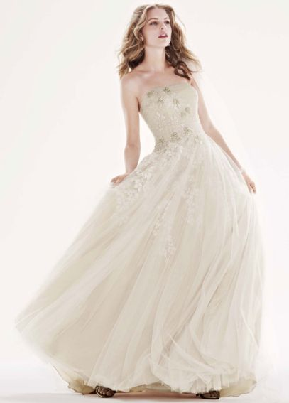 Tulle Ballgown with Champagne Lining and Beading CWG468