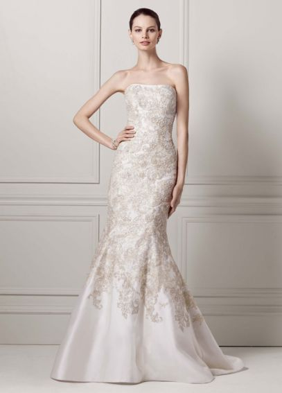 Mikado Trumpet Gown with Allover Beaded Lace CWG480