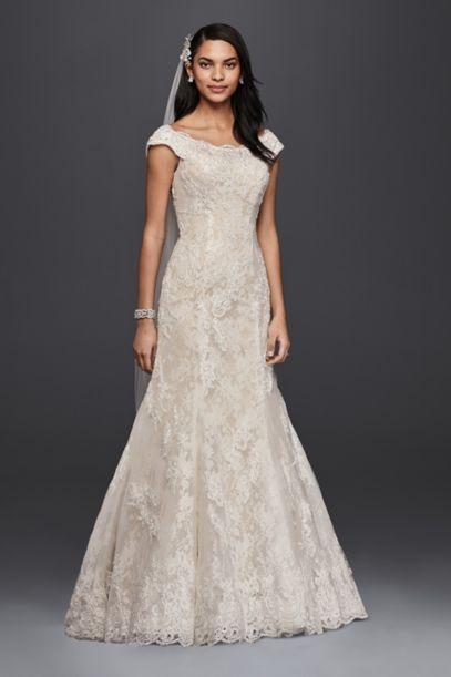 Oleg Cassini Off The Shoulder Lace Wedding Dress