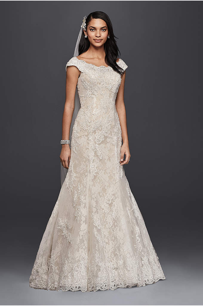 Oleg Cassini Off The Shoulder Lace Wedding Dress - Classic beautiful meets timeless elegance in this heavenly