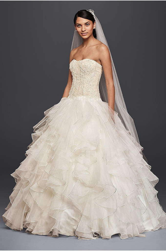 Oleg Cassini Strapless Ruffled Skirt Wedding Dress - Picture your guests' reactions when you arrive in