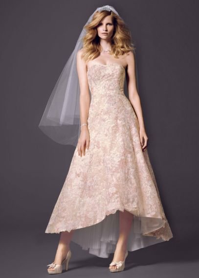 Strapless High Low Ball Gown with Colored Lace CWG617