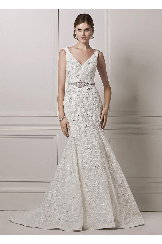 Oleg Cassini Tank Lace and Deep V Wedding Dress