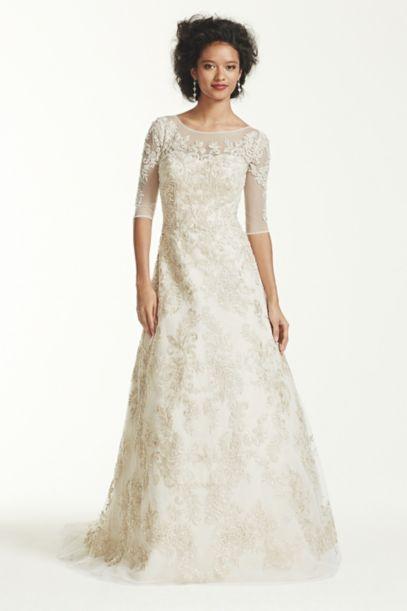 Oleg Cassini 3/4 Sleeve Lace Wedding Dress | David's Bridal