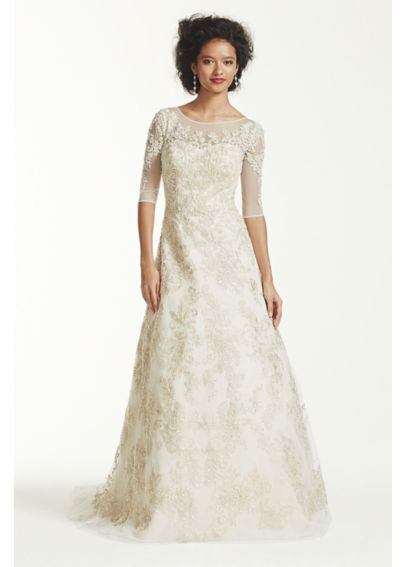 Oleg Cassini 3/4 Sleeve Lace Wedding Dress CWG630