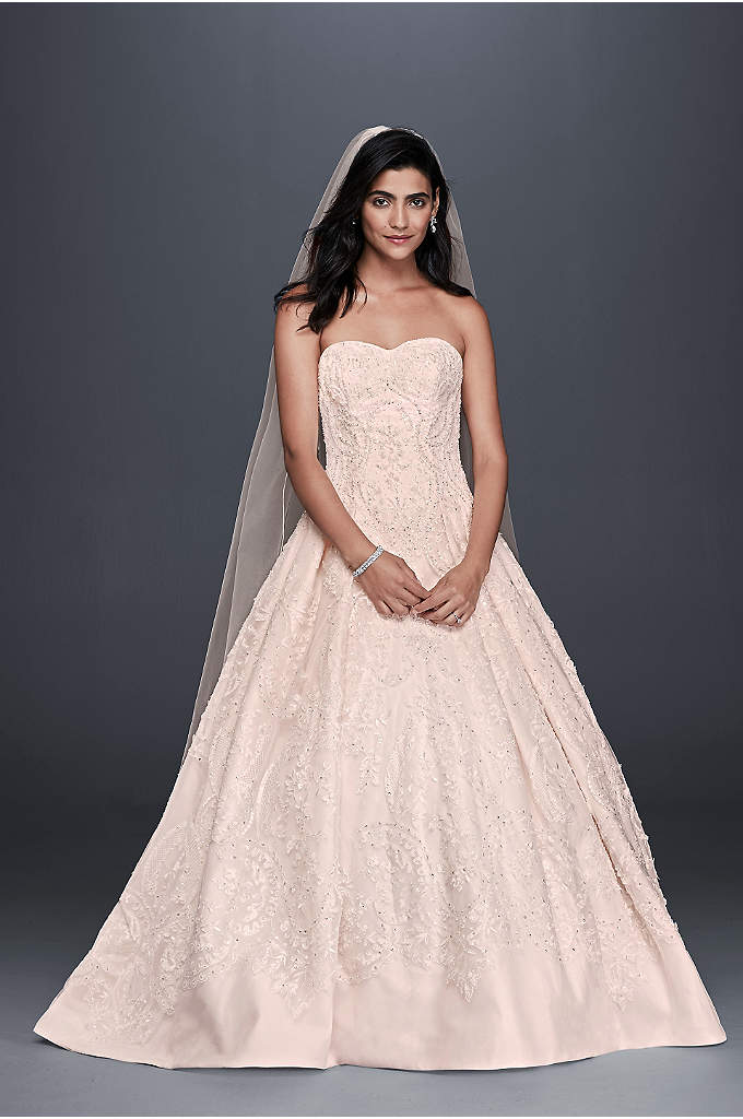 Oleg Cassini Beaded Lace Tulle Wedding Dress