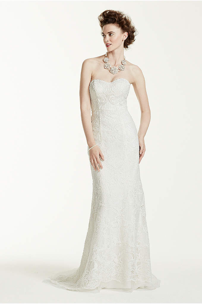 Oleg Cassini Lace Wedding Dress with Pearl Beads - Featuring an astounding 50,000 sparkling pearls delicately beaded