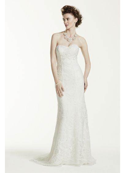 Long Sheath Formal Wedding Dress - Oleg Cassini