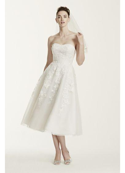 Short A-Line Beach Wedding Dress - Oleg Cassini
