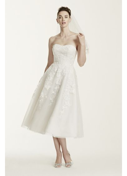 Short A-Line Beach Wedding Dress - Oleg Cassini