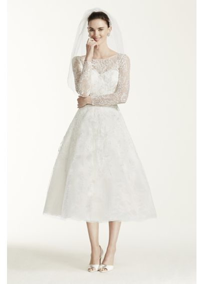 Oleg Cassini Tea Length Lace Tulle Wedding Dress - Davids ...