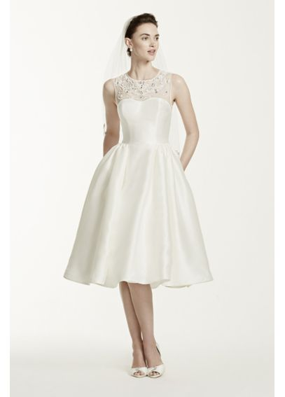Oleg Cassini Mikado Tea Length Wedding Dress - Davids Bridal
