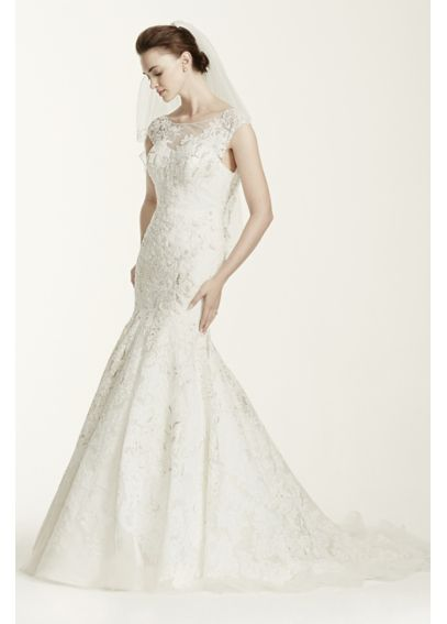 Oleg Cassini Cap Sleeve Wedding Dress with Lace CWG665
