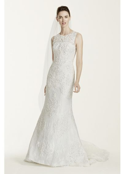 Oleg Cassini Tank Illusion Back Wedding Dress  CWG667