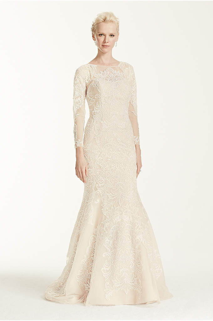 Oleg Cassini Open Back Long Sleeved Wedding Dress - Capture everyone's eye with this lace trumpet gown