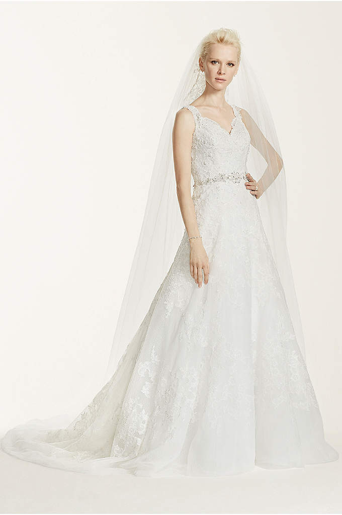 Oleg Cassini A-Line Lace Wedding Dress - A classic and chic gown for a sophisticated