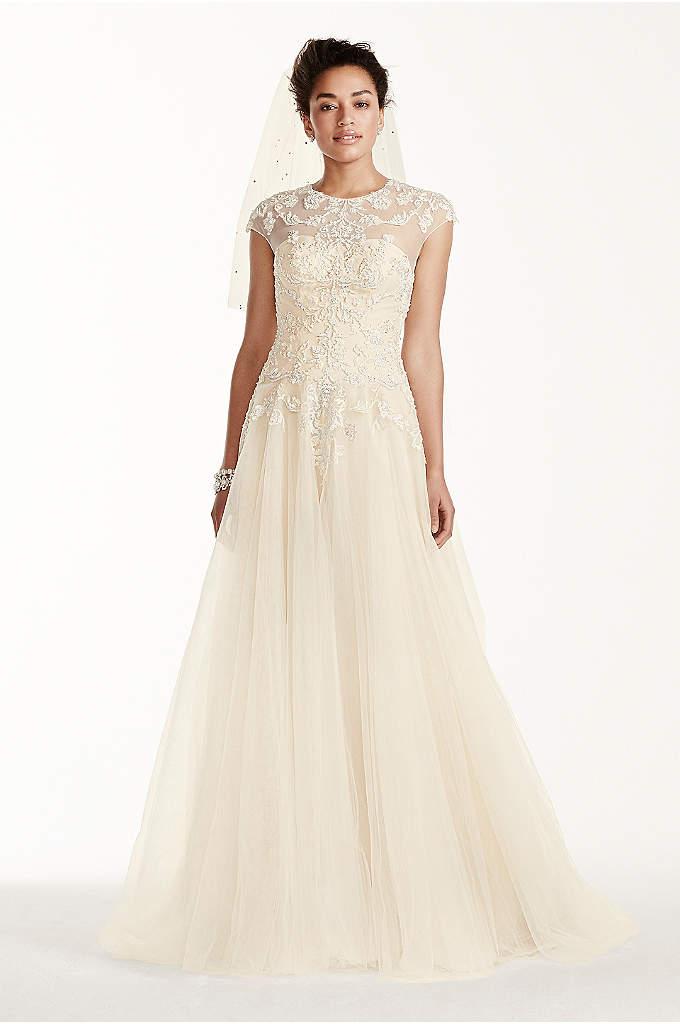 Oleg Cassini Cap Sleeve Tulle Wedding Dress - How do you make an already romantic day