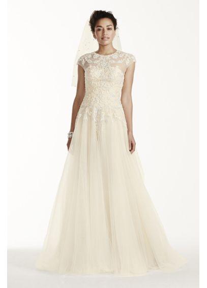 Oleg cassini cap sleeve tulle wedding dress davids bridal for Oleg cassini champagne wedding dress