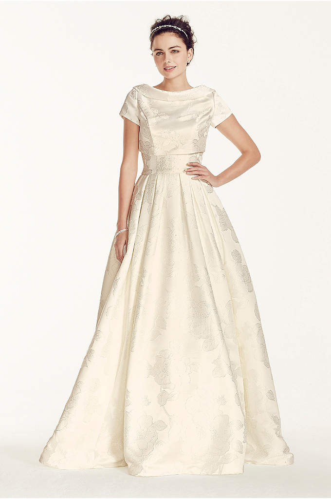 Oleg Cassini Jacquard Wedding Dress with Jacket - This strapless satin jacquard ball gown is topped