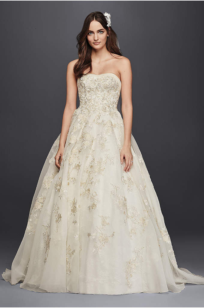 Oleg cassini tea length wedding dress with lace david 39 s for Oleg cassini wedding dress tea length