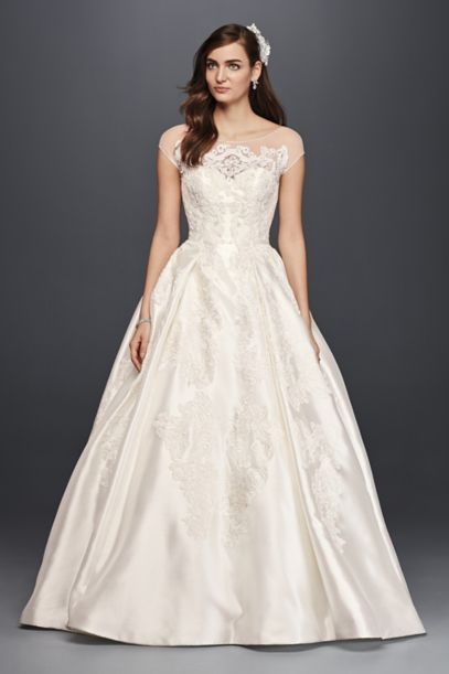 Oleg Cassini Illusion Cap Sleeve Wedding Dress | David's Bridal