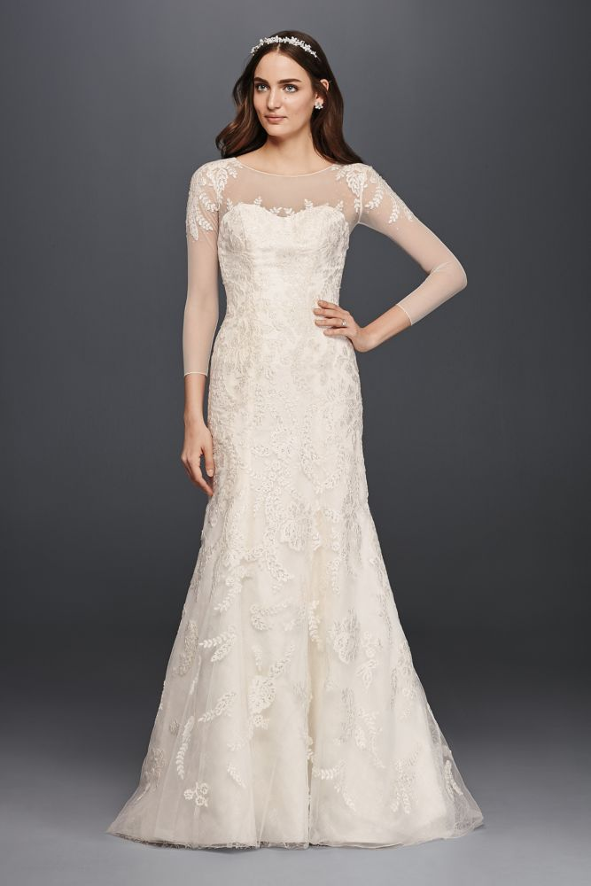Oleg cassini lace wedding dress with 3 4 sleeves style for Add lace sleeves to wedding dress
