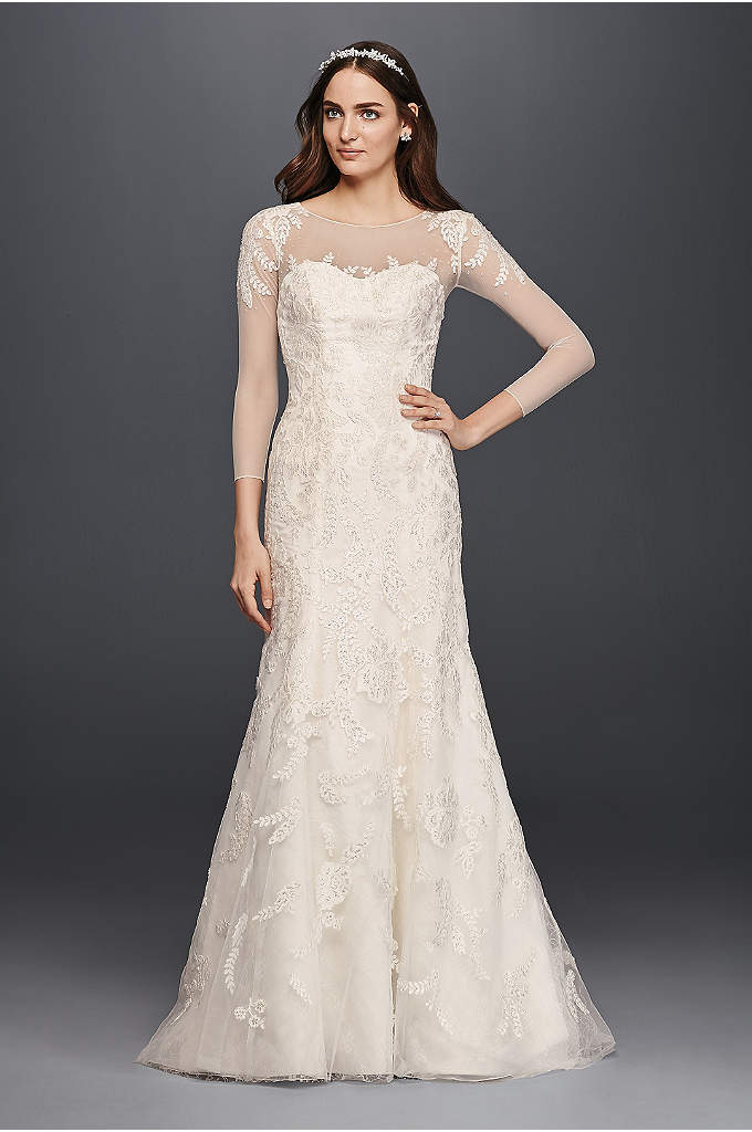 Oleg Cassini Lace Wedding Dress with 3/4 Sleeves - Feminine and elegant, this strapless trumpet gown is