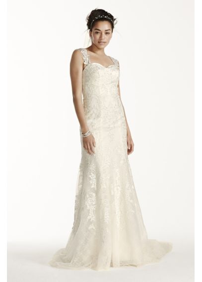 Oleg Cassini Tank Mermaid Wedding Dress with Lace CWG705