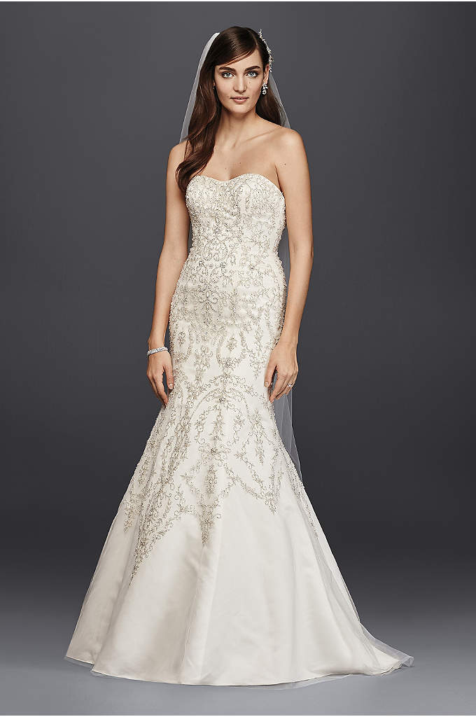 Oleg Cassini Tulle and Crystal Mermaid Wedding Dre - This strapless mermaid dress will have you looking