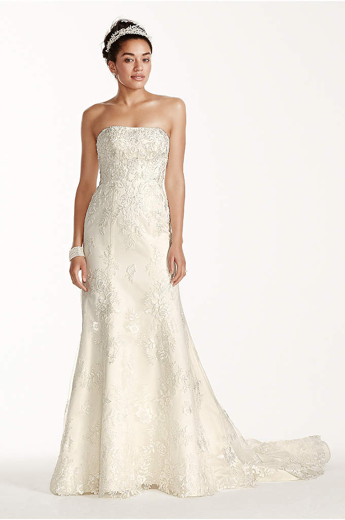 Oleg Cassini Tulle and Lace Trumpet Wedding Dress - A fun fresh wedding gown for the bride