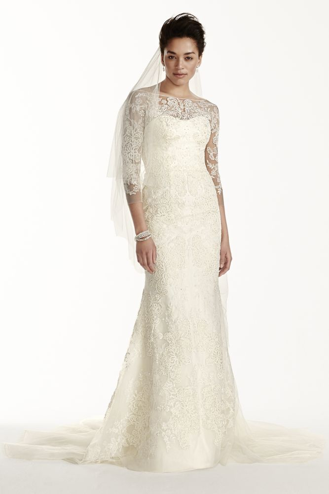 Oleg cassini tulle wedding dress with 3 4 sleeves style for Wedding dresses with sleeves for sale