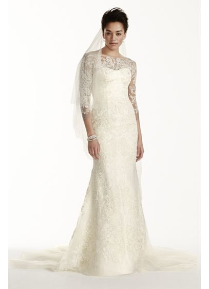 Long Sheath Beach Wedding Dress - Oleg Cassini