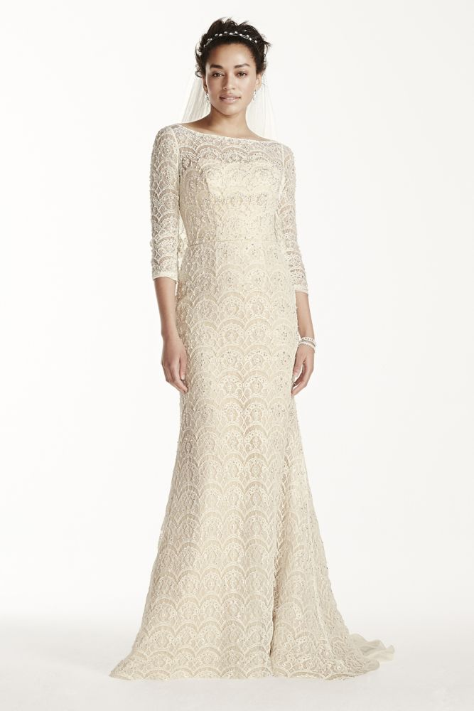 Oleg cassini beaded lace 3 4 sleeved wedding dress style for Long sleeve beaded wedding dress