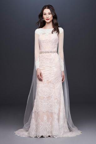 Oleg Cassini Illusion Long Sleeve Wedding Dress Davids Bridal