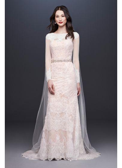 Oleg cassini illusion long sleeve wedding dress davids bridal long sheath formal wedding dress oleg cassini junglespirit Images