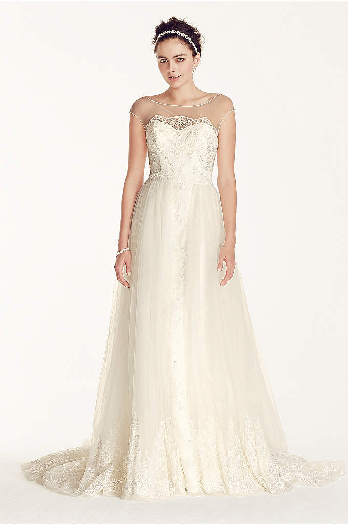 Oleg Cassini Cap Sleeve Tulle A-line Wedding Dress - This breathtaking dress will make your day feel