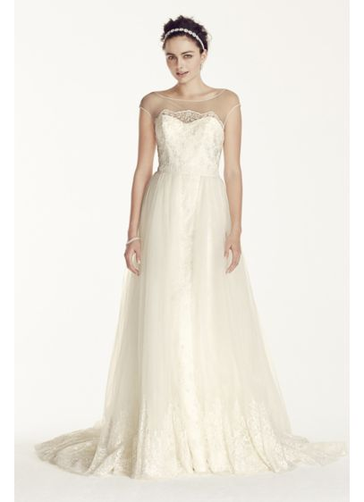Long A-Line Romantic Wedding Dress - Oleg Cassini