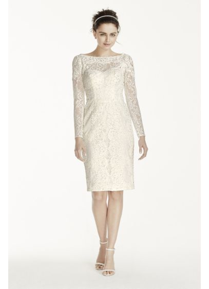 Short Sheath Beach Wedding Dress - Oleg Cassini