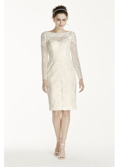 Short lace sheath with long sleeves davids bridal for Short lace sheath wedding dress
