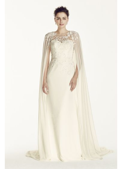 Long Sheath Romantic Wedding Dress - Oleg Cassini