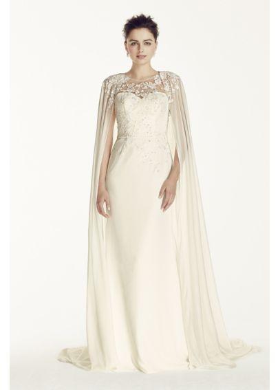 Oleg cassini crepe wedding dress with chiffon cape for Wedding dress with a cape