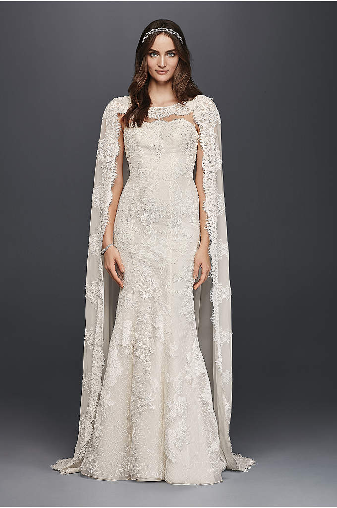 Oleg Cassini Scalloped Chiffon Cape Wedding Dress - Make a statement on your wedding day with